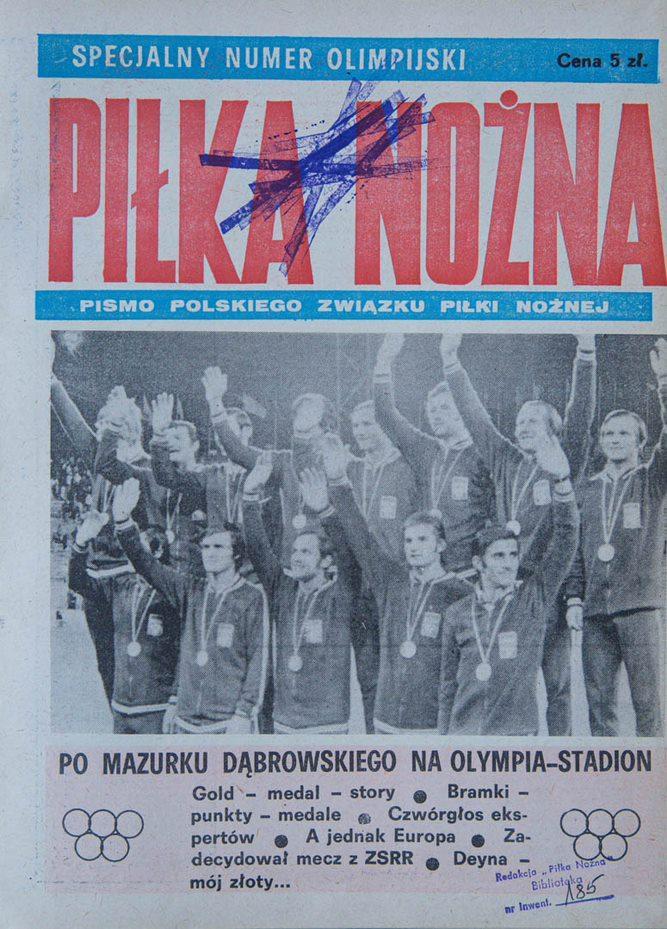 Okładka piłki nożnej po finale Igrzysk z Węgrami (10.09.1972)
