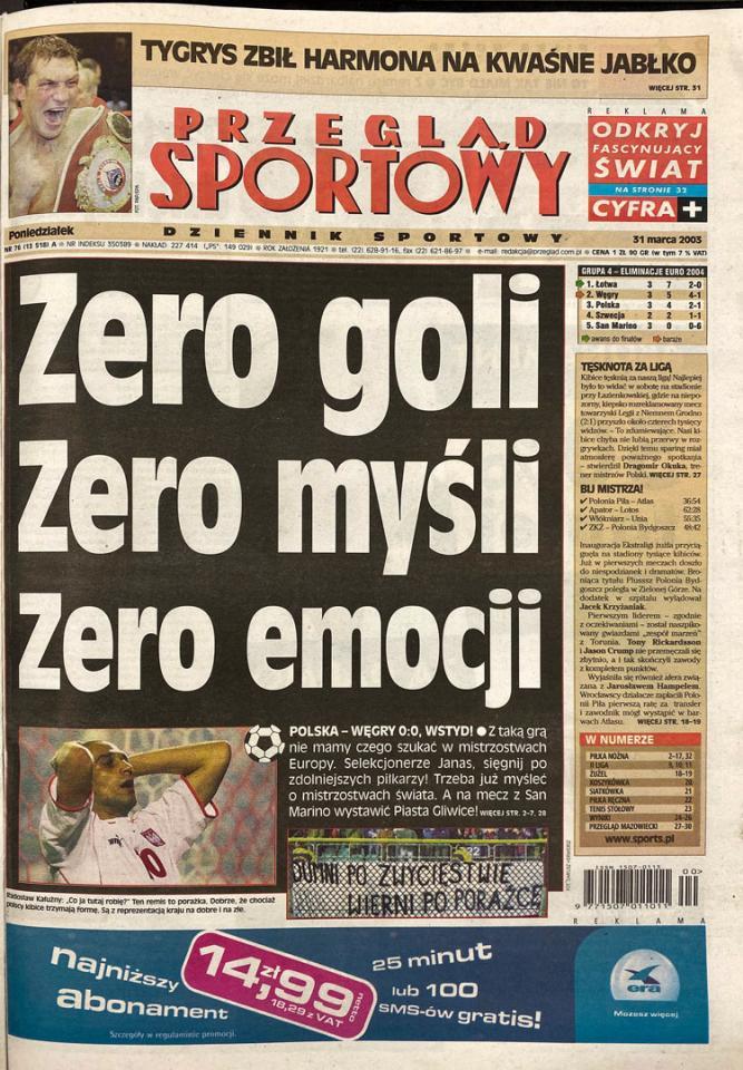 Okładka przeglądu sportowego po meczu Polska - Węgry (29.03.2003)