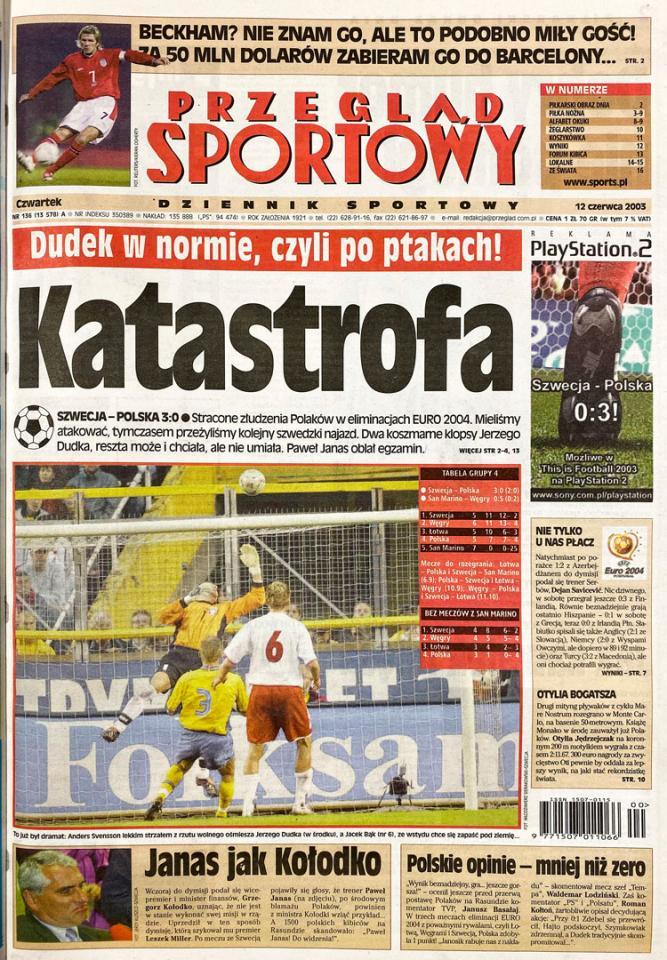 Okładka przeglądu sportowego po meczu Szwecja - Polska (11.06.2003)