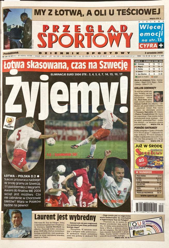 Okładka przeglądu sportowego po meczu Łotwa - Polska (06.09.2003)
