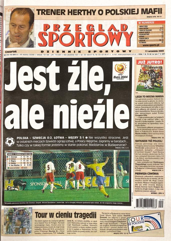 Okładka przeglądu sportowego po meczu Polska - Szwecja (10.09.2003)