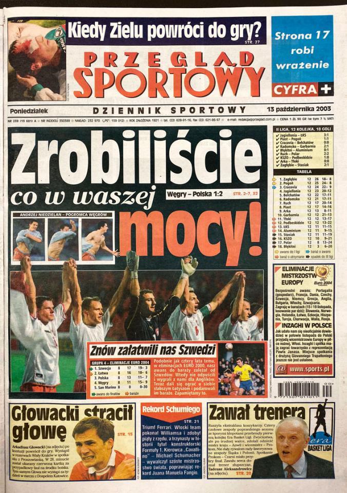 Okładka przeglądu sportowego po meczu Węgry - Polska (11.10.2003)