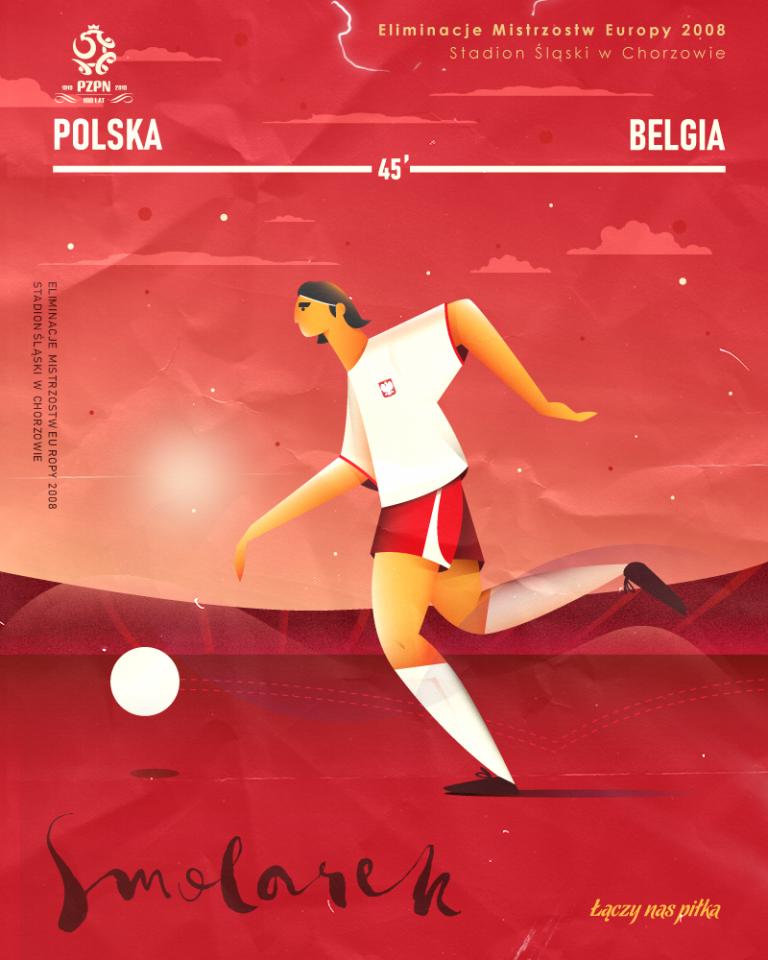 Rysunek przedstawiający biegnącego z piłką Euzebiusza Smolarka. Polak był bohaterem meczu z Belgią w Chorzowie w 2007 roku.