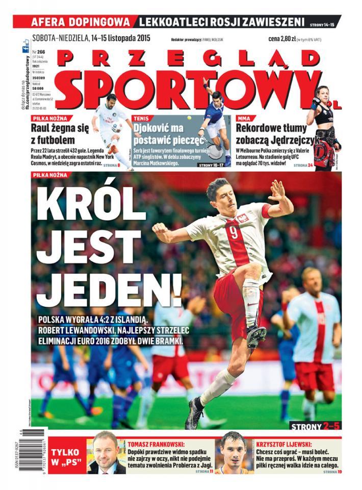 Okładka przeglądu sportowego po meczu Polska - Islandia (13.11.2015)