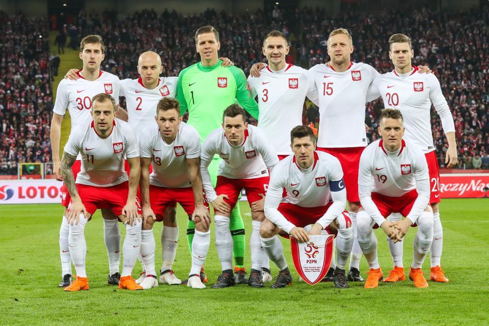 Reprezentacja Polski przed meczem z Koreą Południową w 2018 roku.