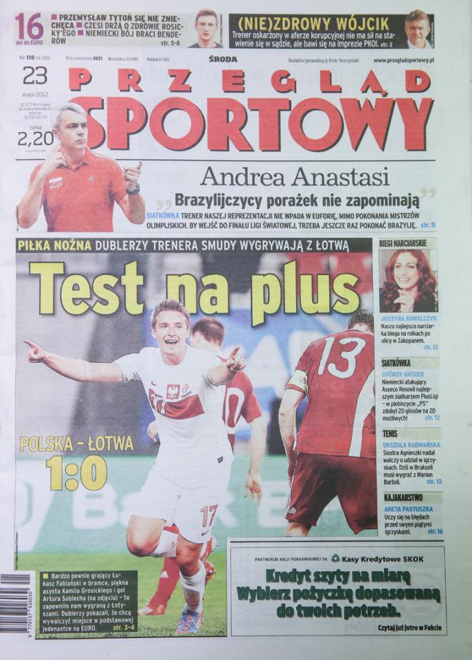 Okładka przeglądu sportowego po meczu Polska - Łotwa (22.05.2012)