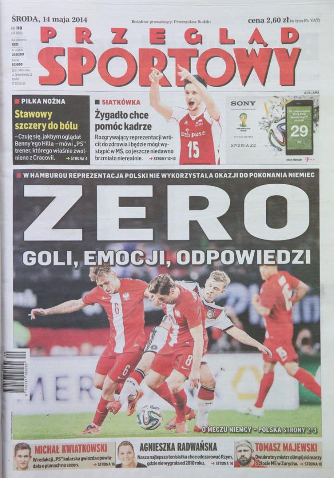 Okładka przeglądu sportowego po meczu Niemcy - Polska (13.05.2014)