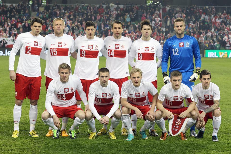 Reprezentacja Polski przed meczem z Irlandią w Dublinie.
