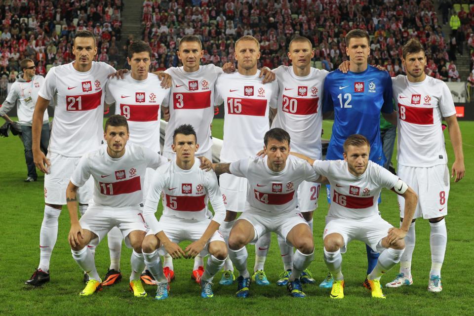 Reprezentacja Polski przed meczem z Danią w Gdańsku.