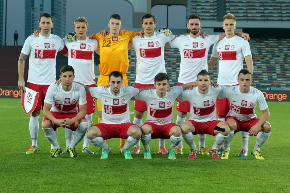 Reprezentacja Polski przed towarzyskim meczem z Norwegią w 2014 roku.
