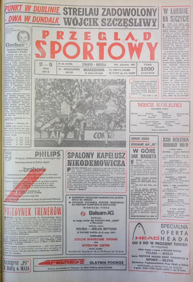 Okładka przeglądu sportowego po meczu Irlandia - Polska (01.05.1991)