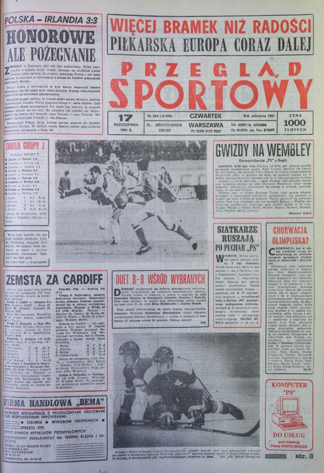 Okładka przeglądu sportowego po meczu Polska - Irlandia (16.10.1991)