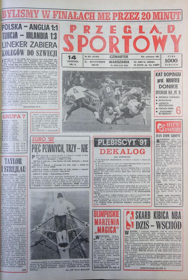 Okładka przeglądu sportowego po meczu Polska - Anglia (13.11.1991)