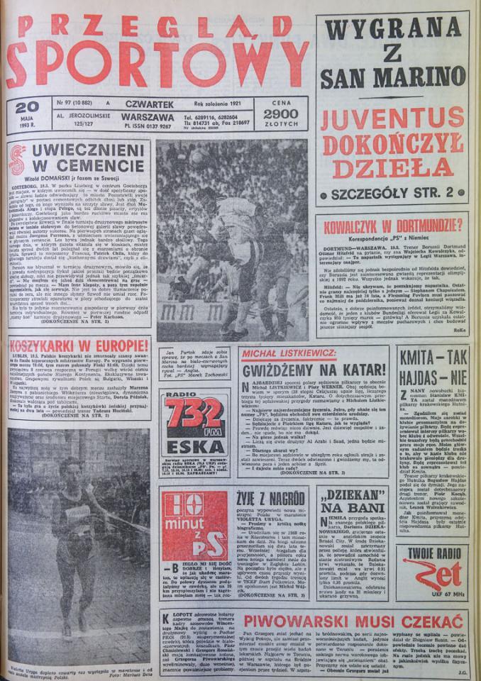 Okładka przegladu sportowego po meczu san marino - polska (19.05.1993)