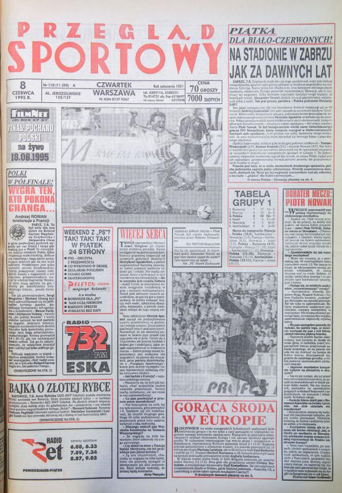 Okładka przegladu sportowego po meczu Polska - Słowacja (07.06.1995)