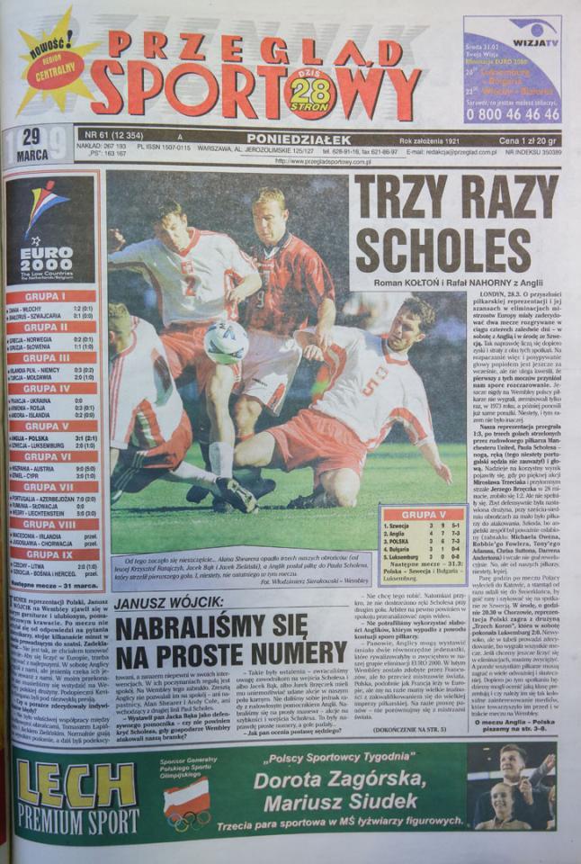 Okładka przegladu sportowego po meczu Anglia - Polska (27.03.1999)