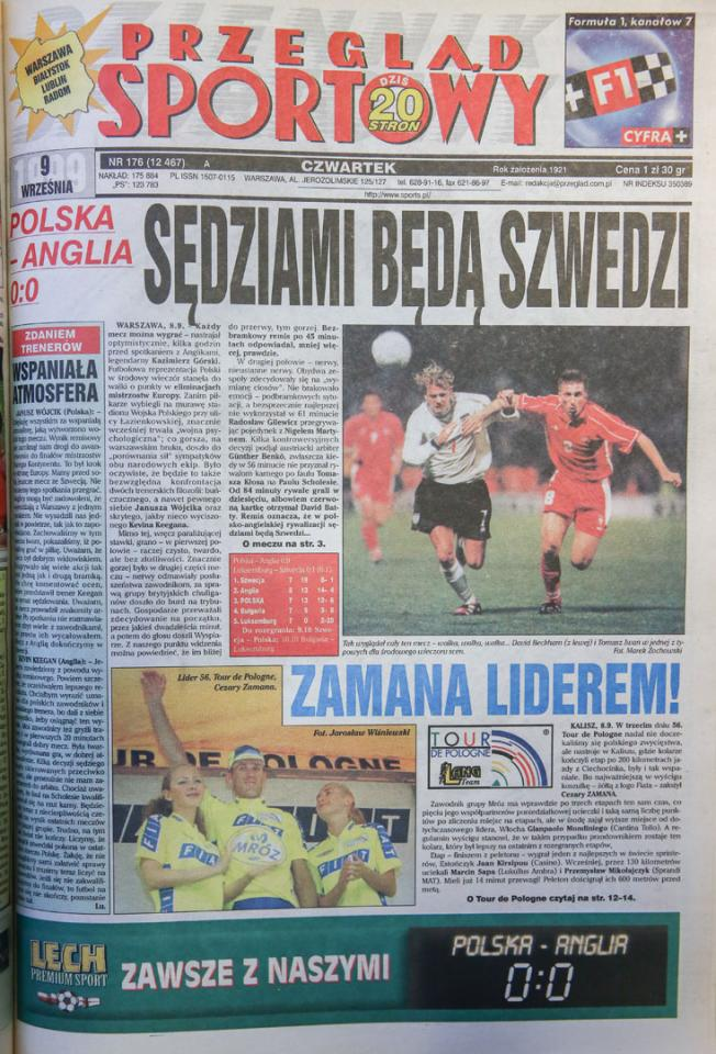Okładka przeglądu sportowego po meczu Polska - Anglia (08.10.1999)