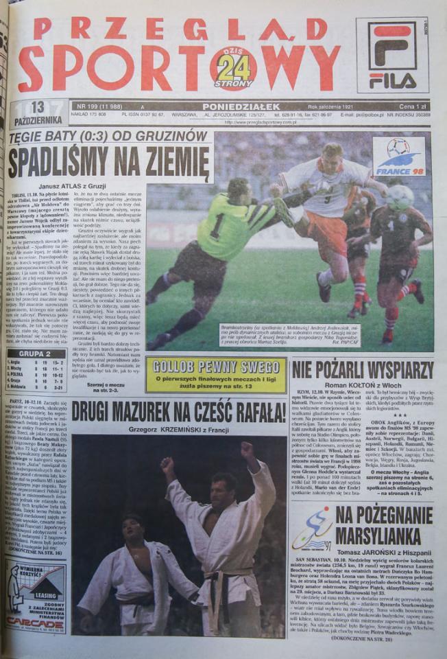 Okładka przegladu sportowego po meczu Gruzja - Polska (11.10.1997)