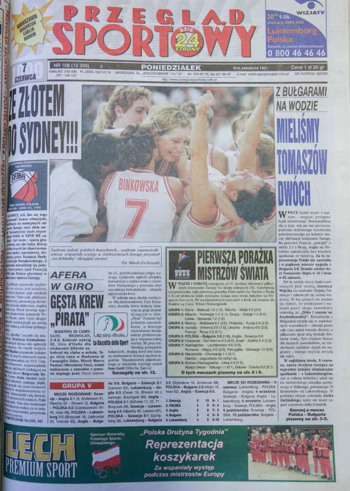 Okładka przegladu sortowego po meczu Polska - Bułgaria (04.06.1999)