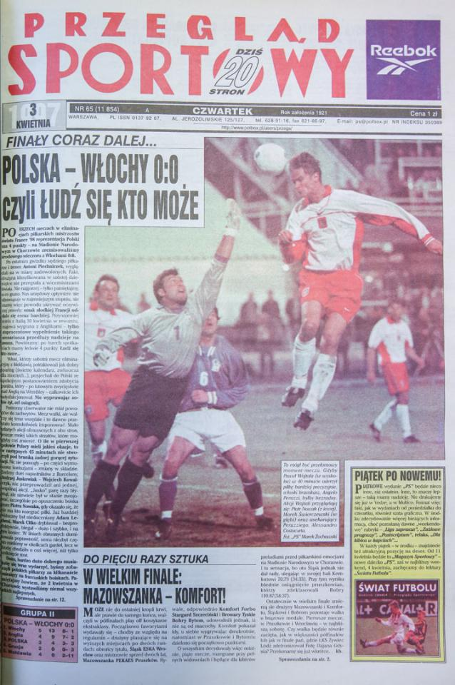Okładka przegladu sportowego po meczu polska - włochy (02.04.1997)