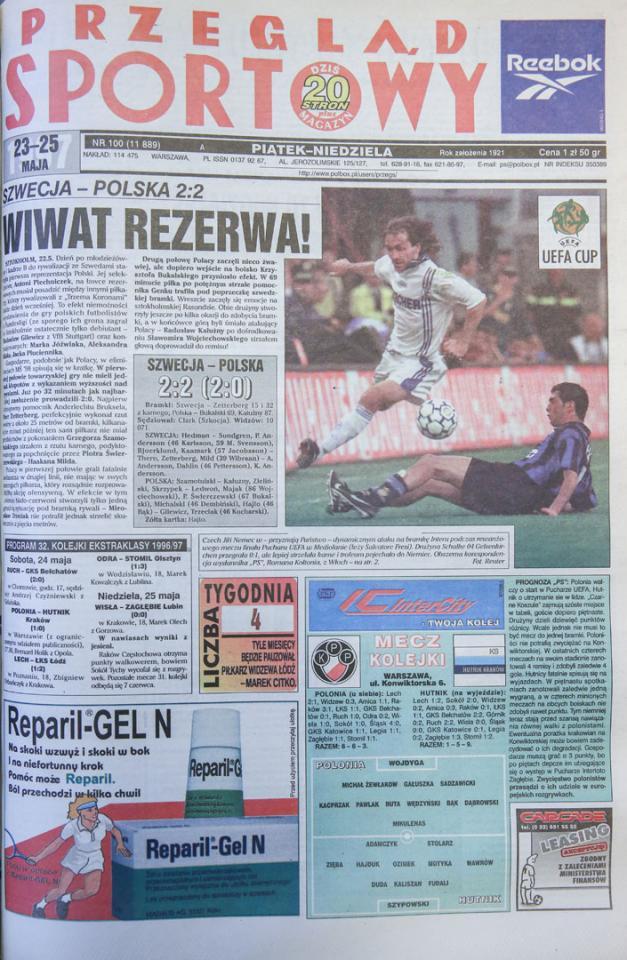Okładka przegladu sportowego po meczu Szwecja - Polska (22.05.1997)