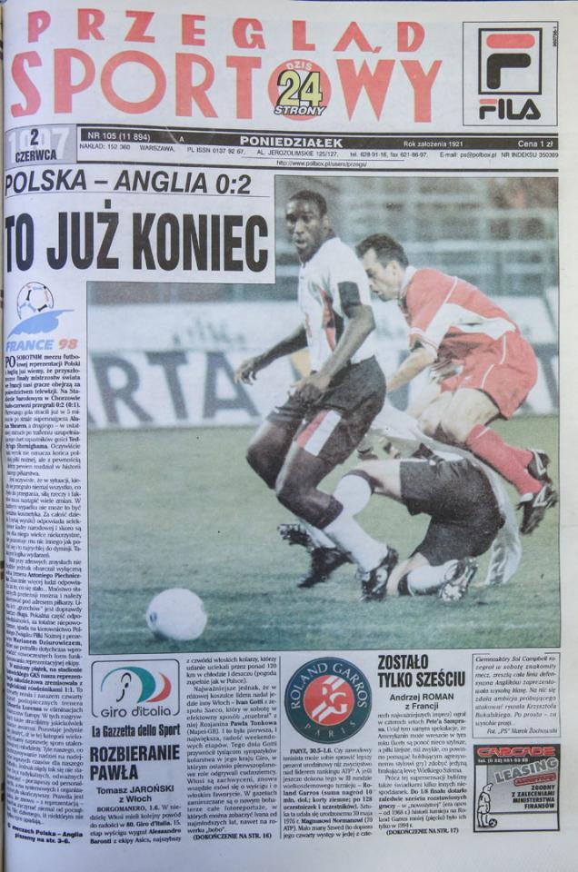 Okładka przegladu sportowego po meczu polska - anglia (31.05.1997)