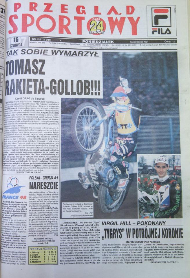 Okładka przegladu sportowego po meczu polska - gruzja (14.06.1997)