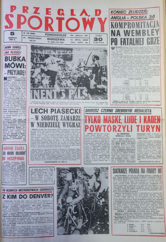 Okładka przegladu sportowego po meczu anglia - polska (03.06.1989)
