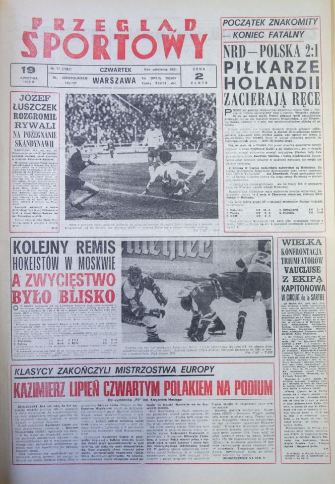 Okładka przegladu sportowego po meczu nrd - polska (18.04.1979)