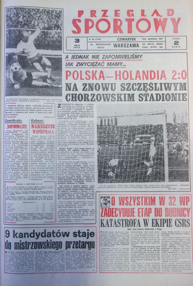 Okładka przegladu sportowego po meczu Polska - Holandia (02.05.1979)