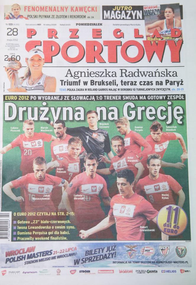 Okładka przeglądu sportowego po meczu Polska - Słowacja (27.05.2012)