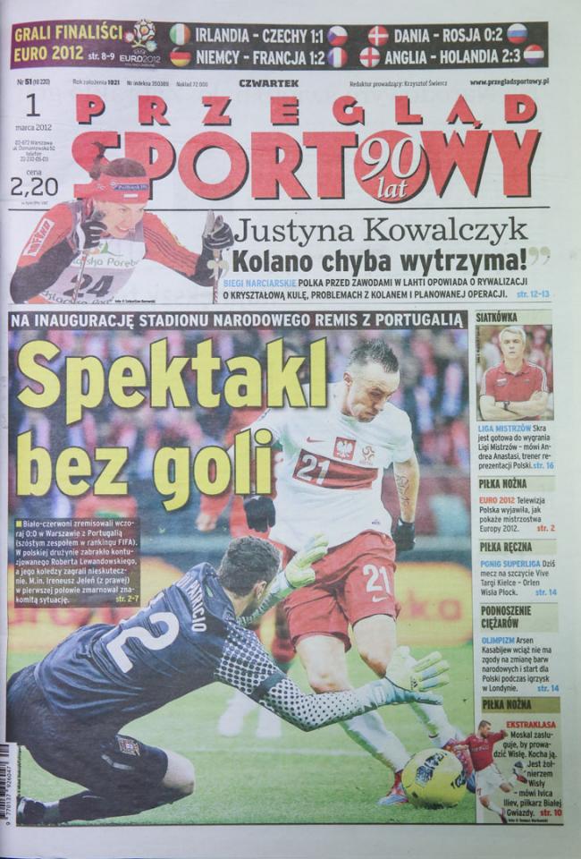 Okładka Przeglądu Sportowego po meczu Polska - Portugalia (29 lutego 2012)
