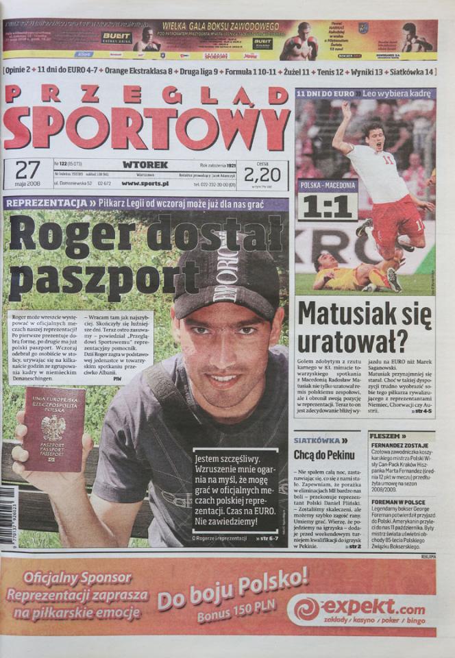 Okładka przeglądu sportowego po meczu Polska - Macedonia (26.05.2008)