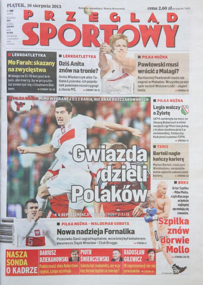 Okładka przeglądu sportowego po meczu Polska - Dania (14.08.2013)