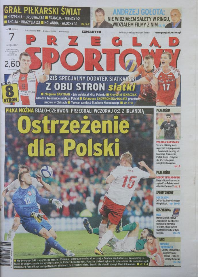 Okładka przeglądu sportowego po meczu Irlandia - Polska (06.02.2013)