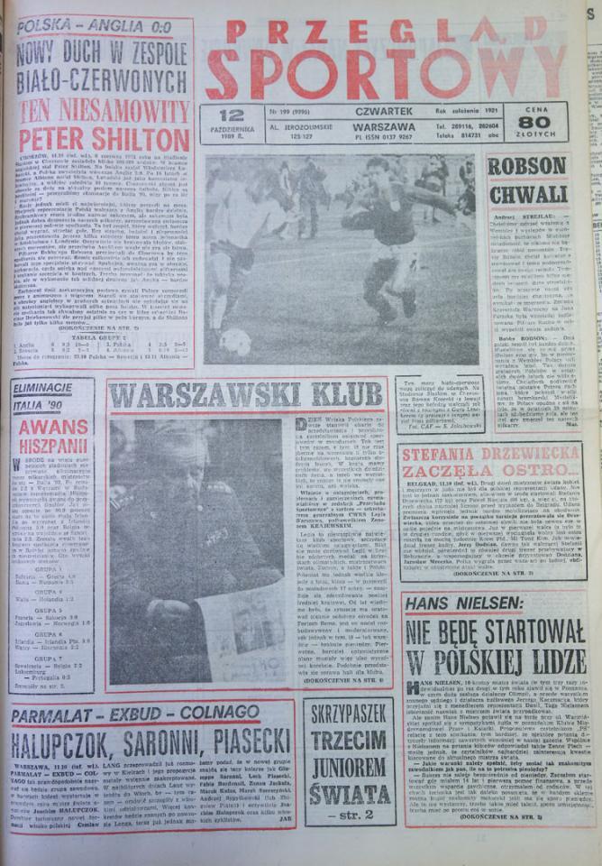 Okładka przeglądu sportowego po meczu Polska - Anglia (11.10.1989)