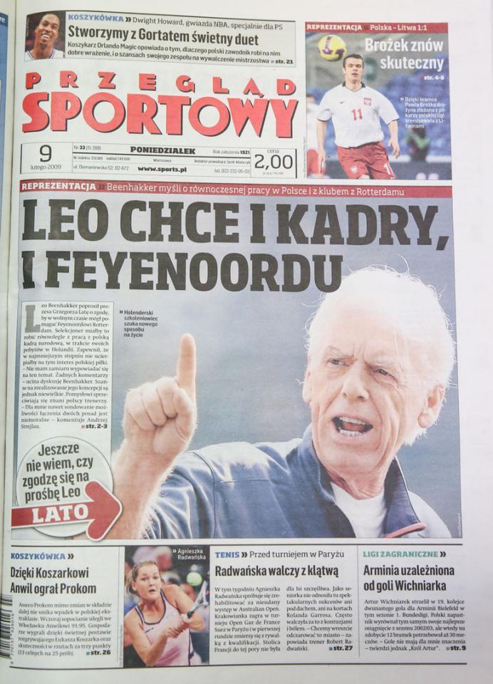 Okładka przegladu sportowego po meczu Polska - Litwa (07.02.2009)
