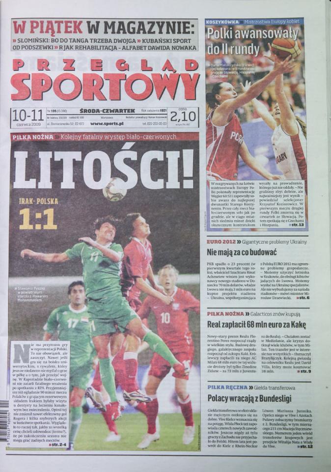 Okładka przeglądu sportowego po meczu Irak - Polska (09.06.2009)
