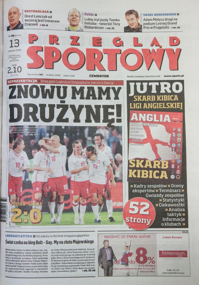 Przegląd Sportowy po meczu Polska - Grecja (12.08.2009)
