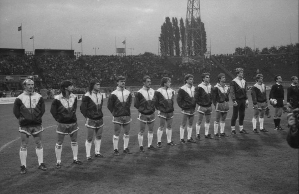 Reprezentacja Polski przed meczem z Anglią w Chorzowie.