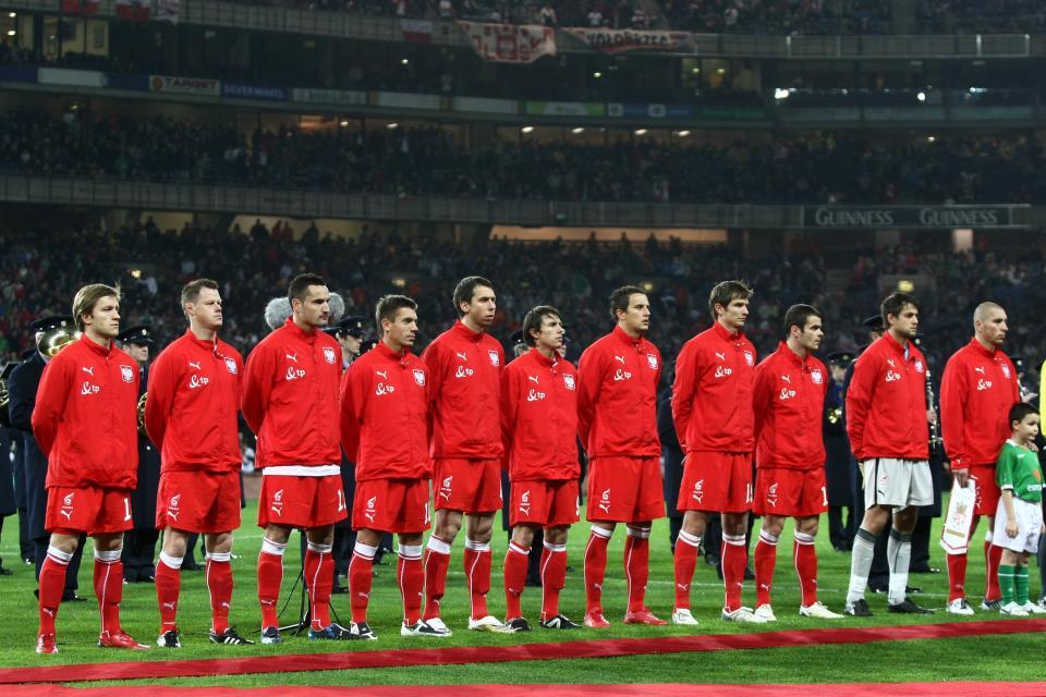 Reprezentacja Polski na stadionie Croke Park w Dublinie przed meczem z Irlandią w 2008 roku.