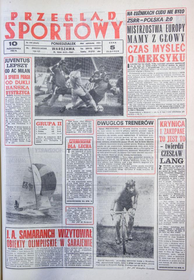 Przegląd sportowy po meczu ZSRR - Polska (09.10.1983)