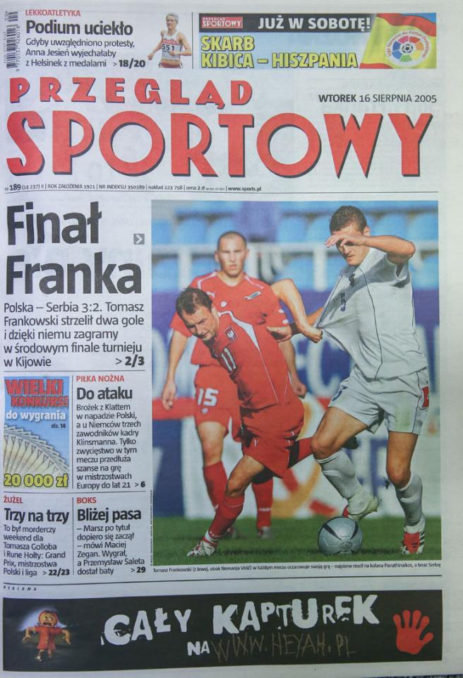 Okładka Przeglądu Sportowego po meczu Polska - Serbia i Czarnogóra (15.08.2005)