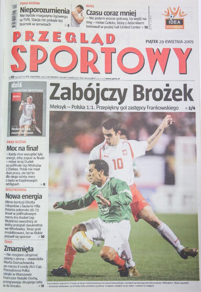 Okładka Przeglądu Sportowego po meczu Polska - Meksyk (27.04.2005)
