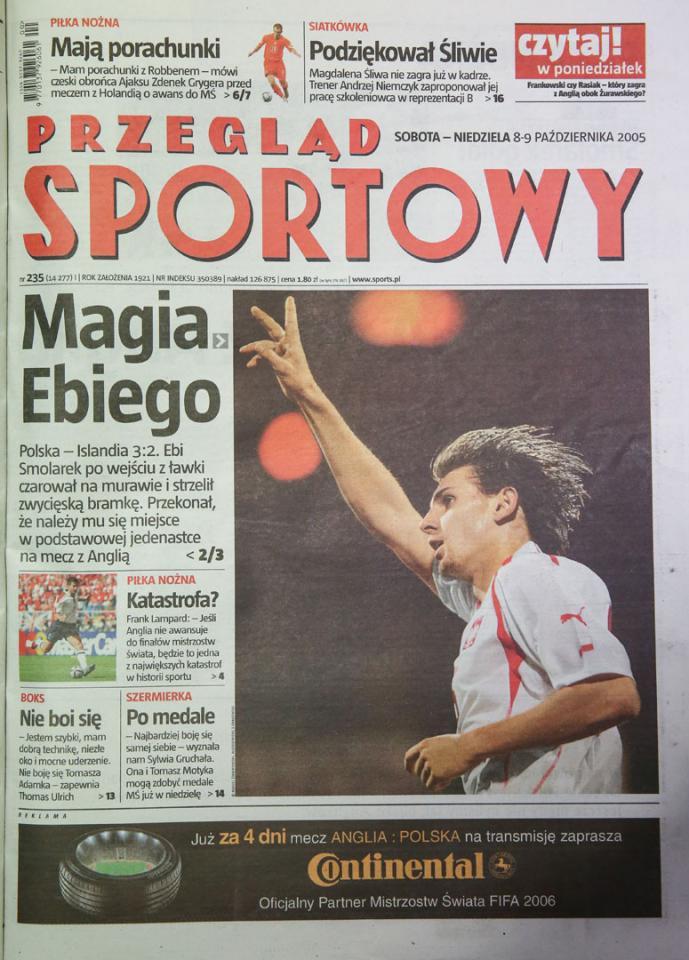 Przegląd sportowy po meczu Polska - Islandia (7.10.2005)