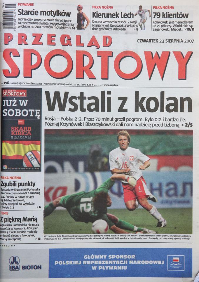 Przegląd sportowy po meczu Rosja - Polska (22.08.2007)