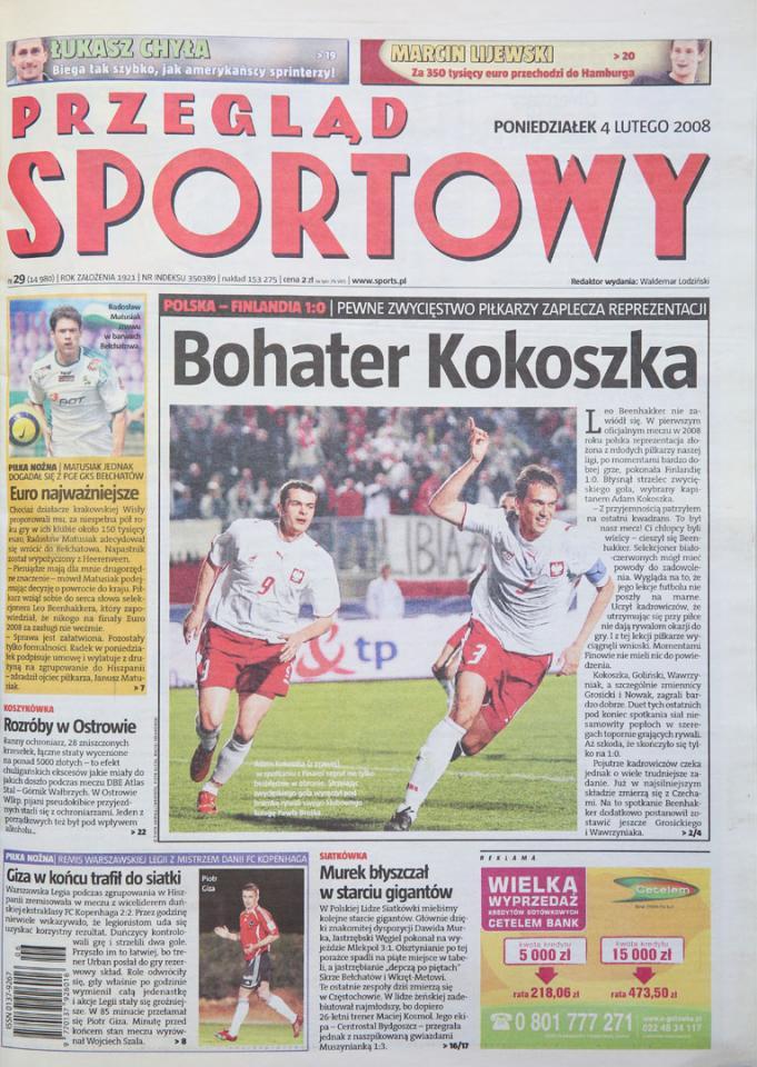 Okładka przeglądu sportowego po meczu polska - finlandia (02.02.2008)