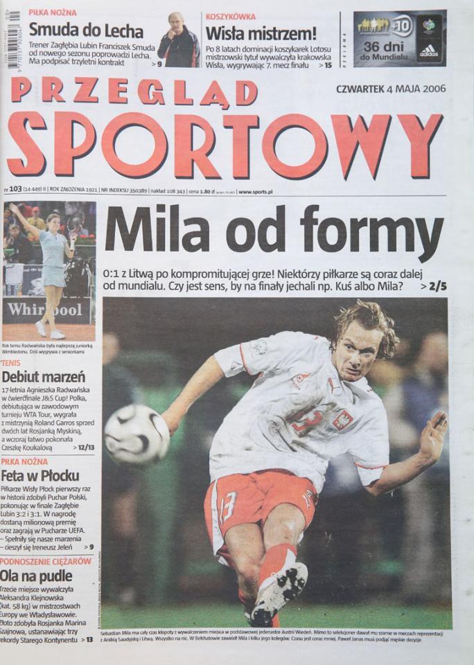 Okładka przeglądu sportowego po meczu Polska - Litwa (02.05.2006)