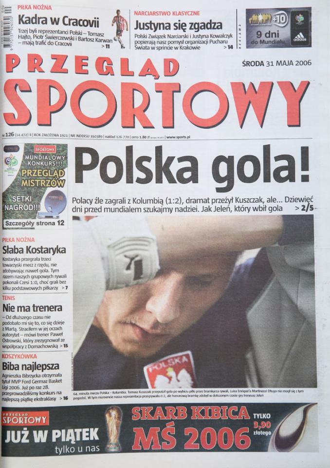 Okładka przeglądu sportowego po meczu Polska - Kolumbia (30.05.2006)