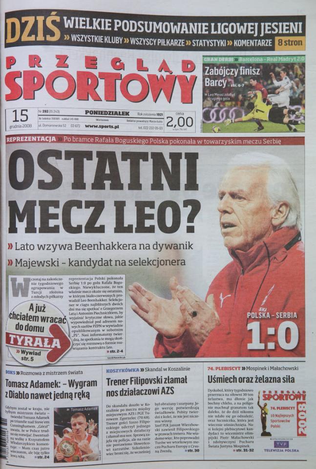 Okładka przeglądu sportowego po meczu Polska - Serbia (14.12.2008)